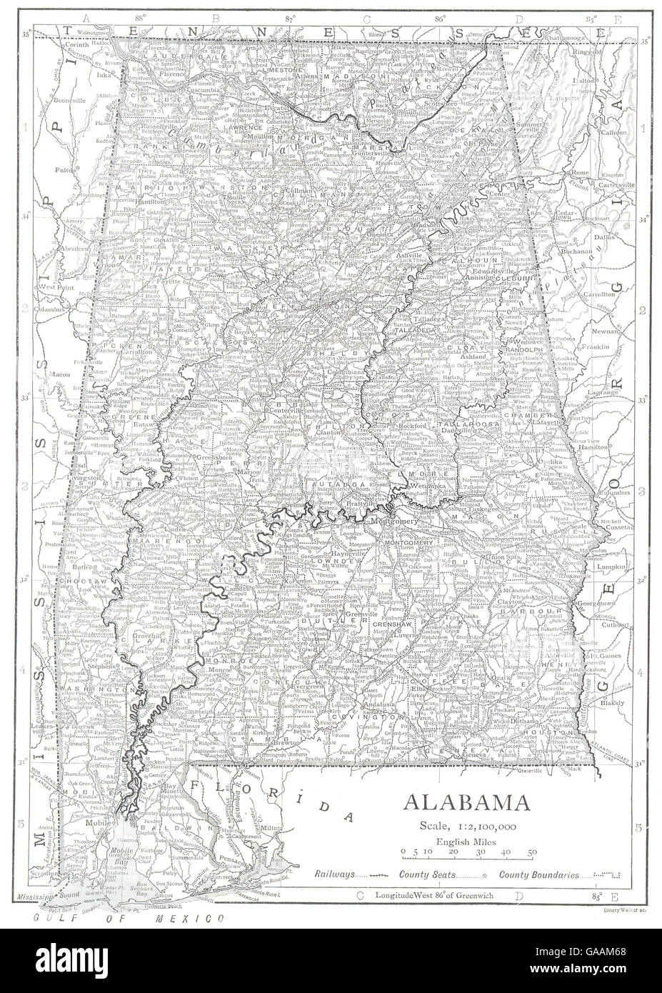 Alabama Alabama State Map Showing Counties 1910 Stock Photo