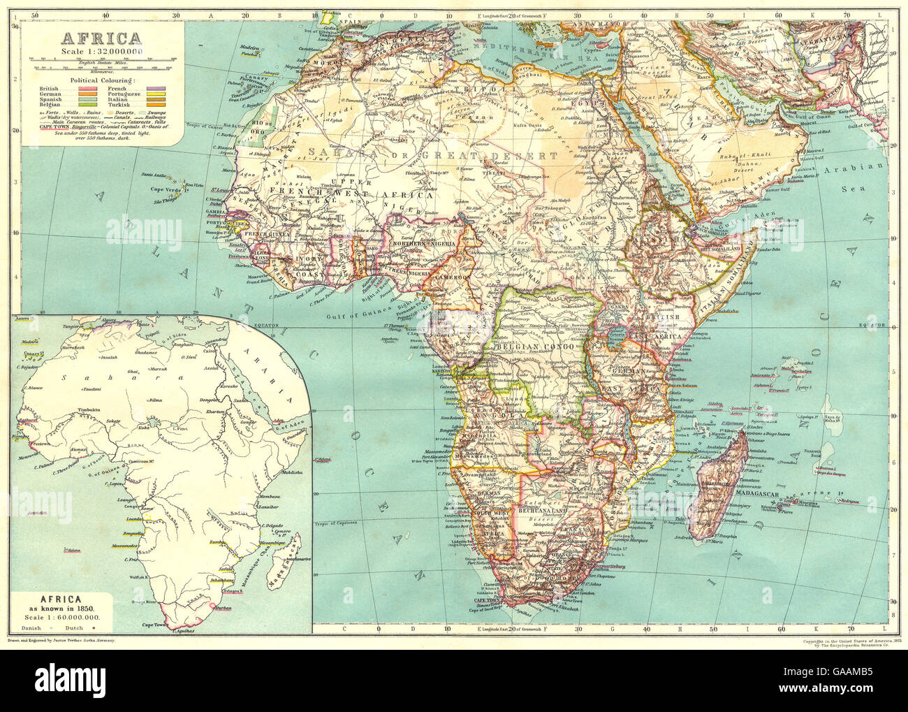 Map Of Africa 1850.Africa Africa Inset Map Of Africa As Known In 1850 1910 Stock