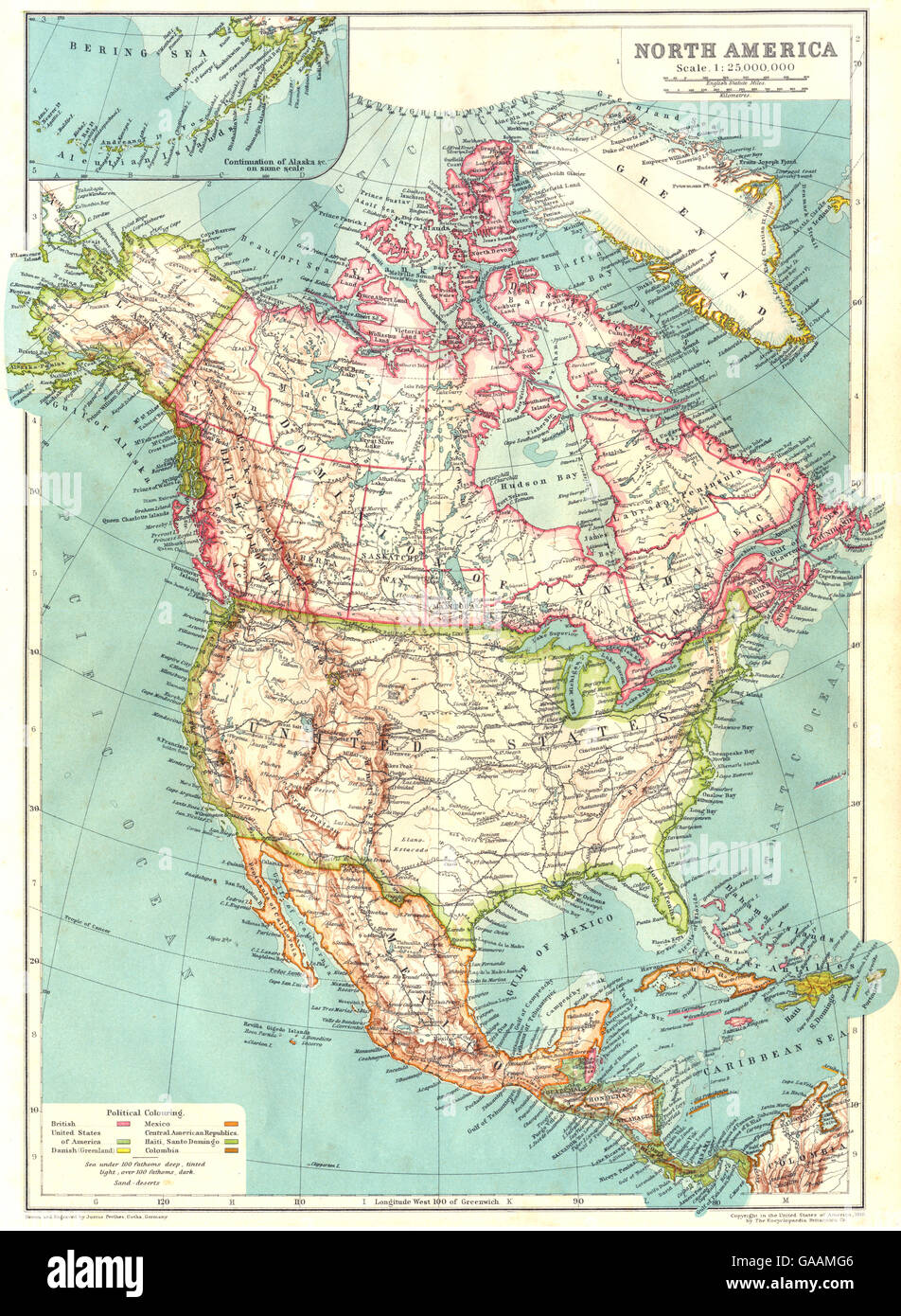 NORTH AMERICA: USA Mexico Canada West Indies Central America, 1910 ...
