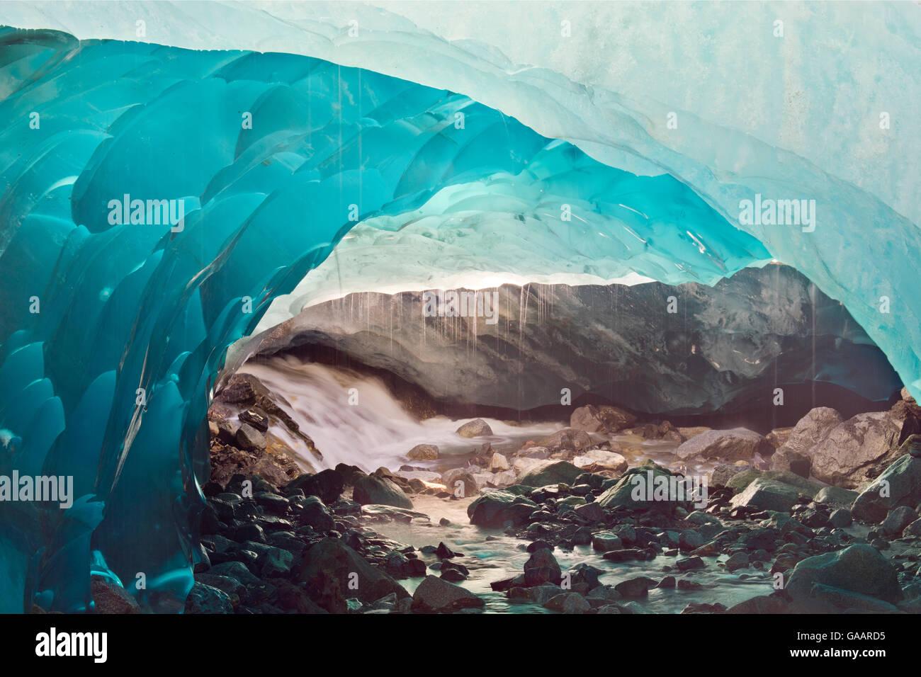 Ice cave melting in Mendenhall Glacier, Juneau, Alaska, USA, August 2014. - Stock Image