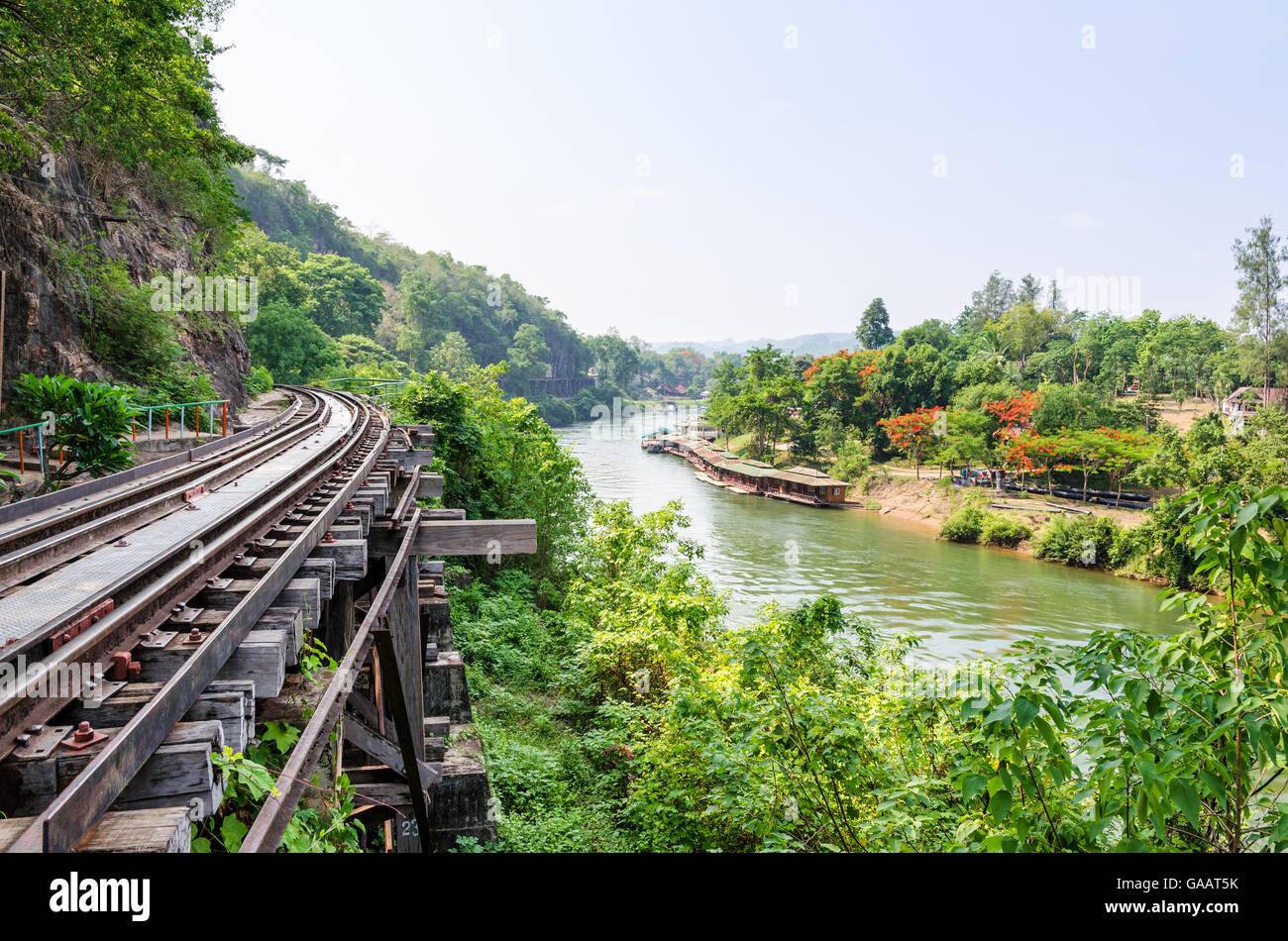 Beautiful landscape Death Railway bridge over the Kwai Noi River at Krasae cave in Kanchanaburi province Thailand - Stock Image