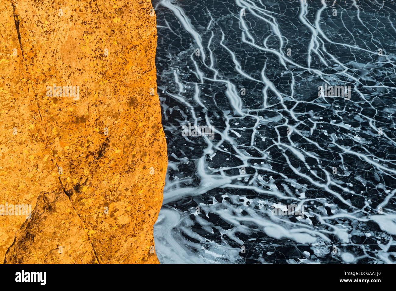 Ice patterns on lake, Sorvagen, Moskenes, Lofoten, Nordland, Norway, January. - Stock Image