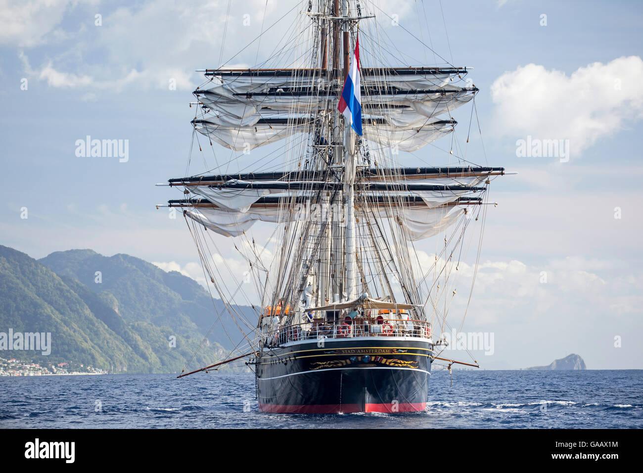 Three-masted clipper cruising ship 'Stad Amsterdam', Dominica, Caribbean Sea, Atlantic Ocean. All non-editorial - Stock Image