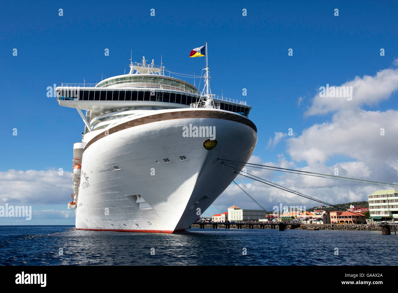 Front view of a transatlantic cruise ship docked in Dominica, Caribbean. All non-editorial uses must be cleared - Stock Image