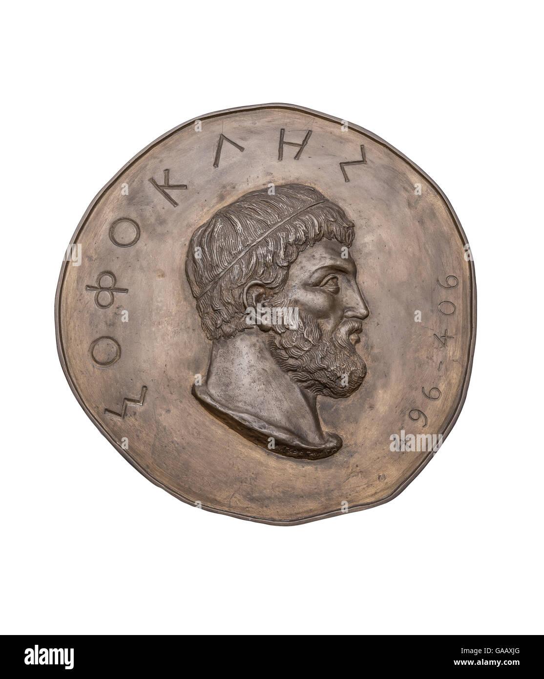 Greek Novelist Sophocles on Ancient Bronze Medal - Stock Image