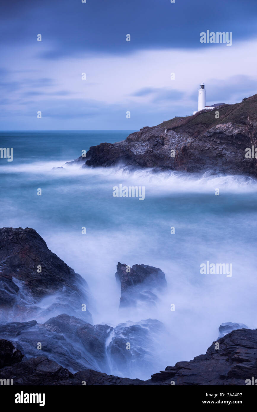 Trevose Lighthouse at dusk, long exposure at high tide, Trevose, Cornwall, UK. January 2015. - Stock Image