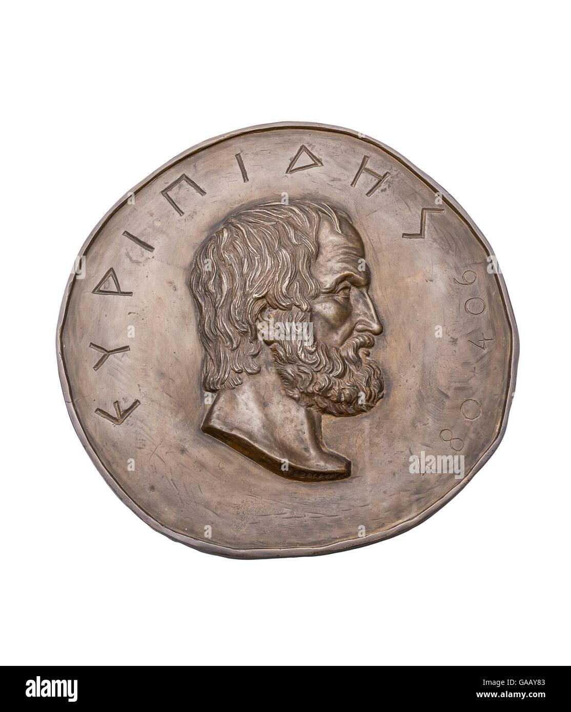 Greek Novelist Euripides on Ancient Bronze Medal - Stock Image