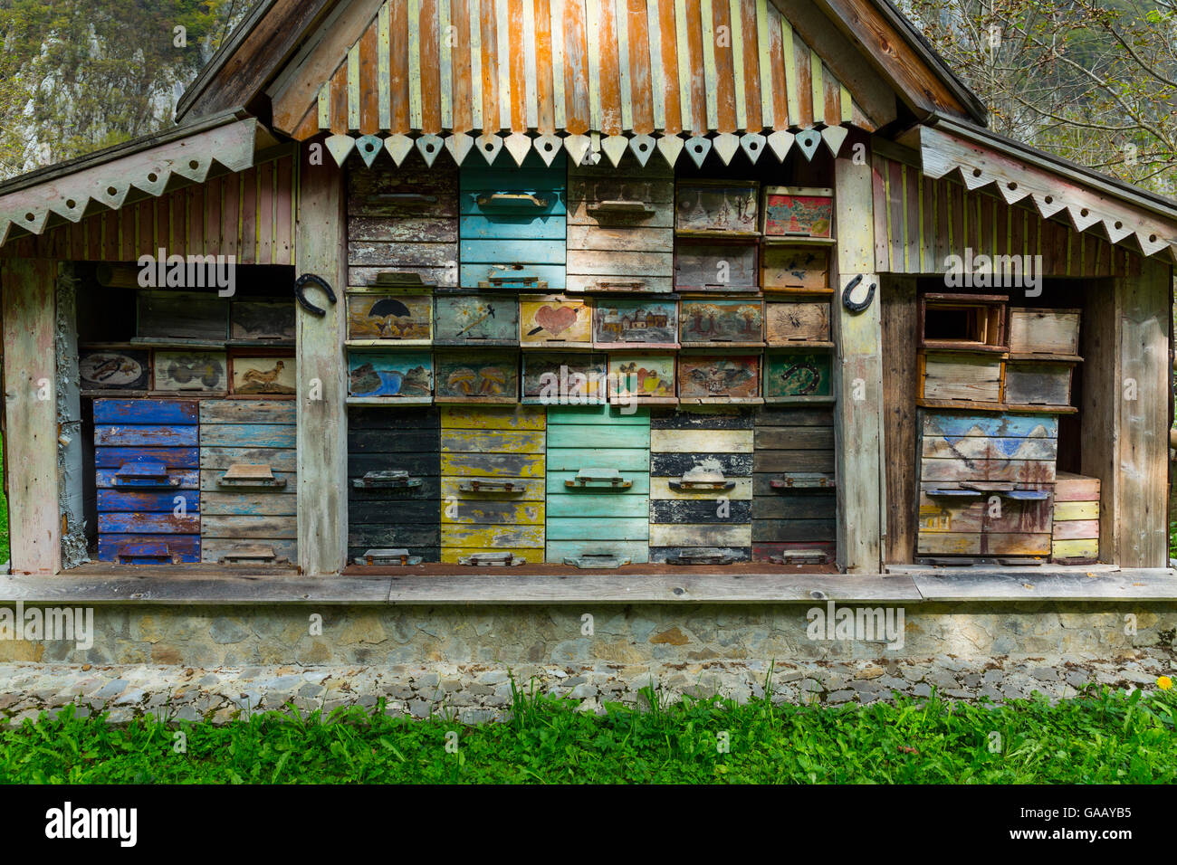 Cabin sheltering traditional behives, Bavsica, Julian Alps, Slovenia. October 2014. - Stock Image