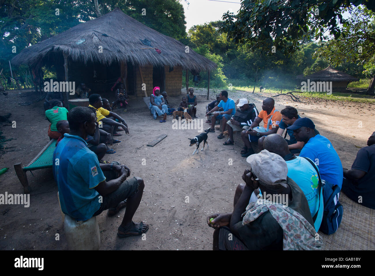 Local people gathered for education program to conserve the wildlife of the Bissagos Islands including the endangered - Stock Image
