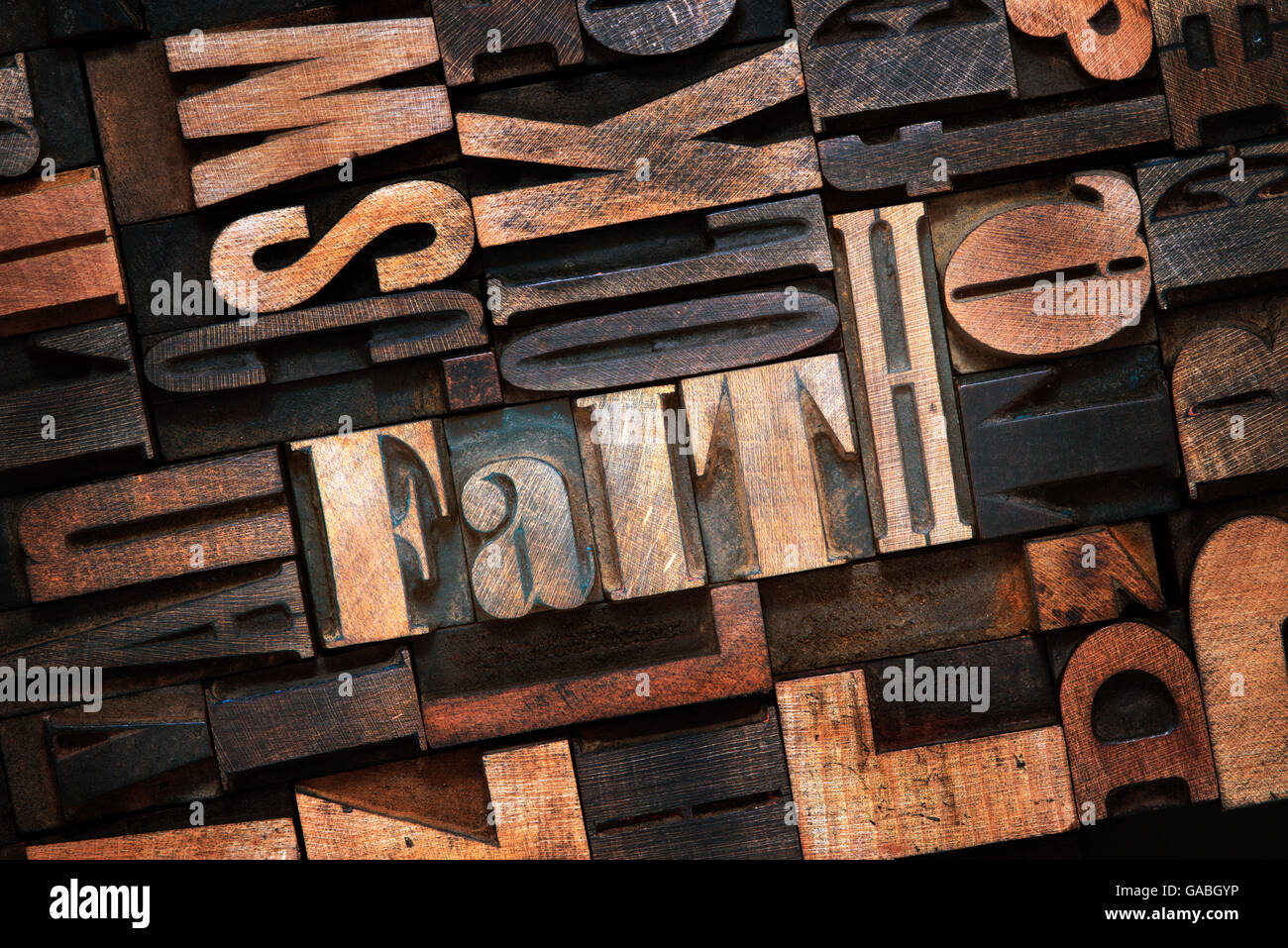 faith word made from wooden letterpress blocks inside many letters background - Stock Image