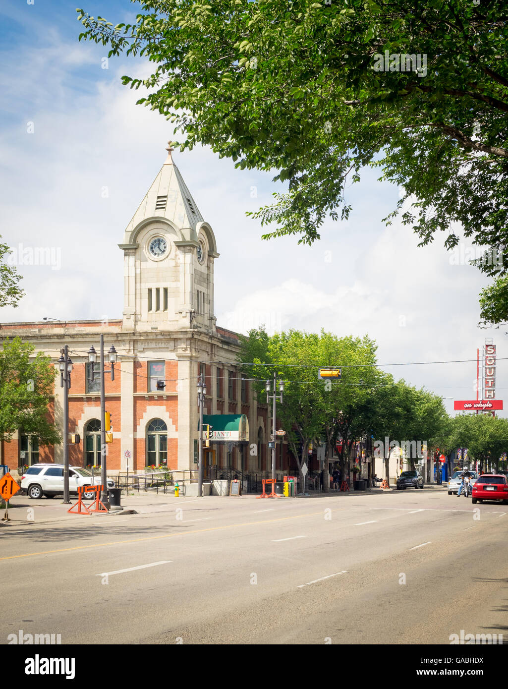 A view of the Old Strathcona Post Office and Whyte Avenue (82 Avenue) in Edmonton, Alberta, Canada. - Stock Image