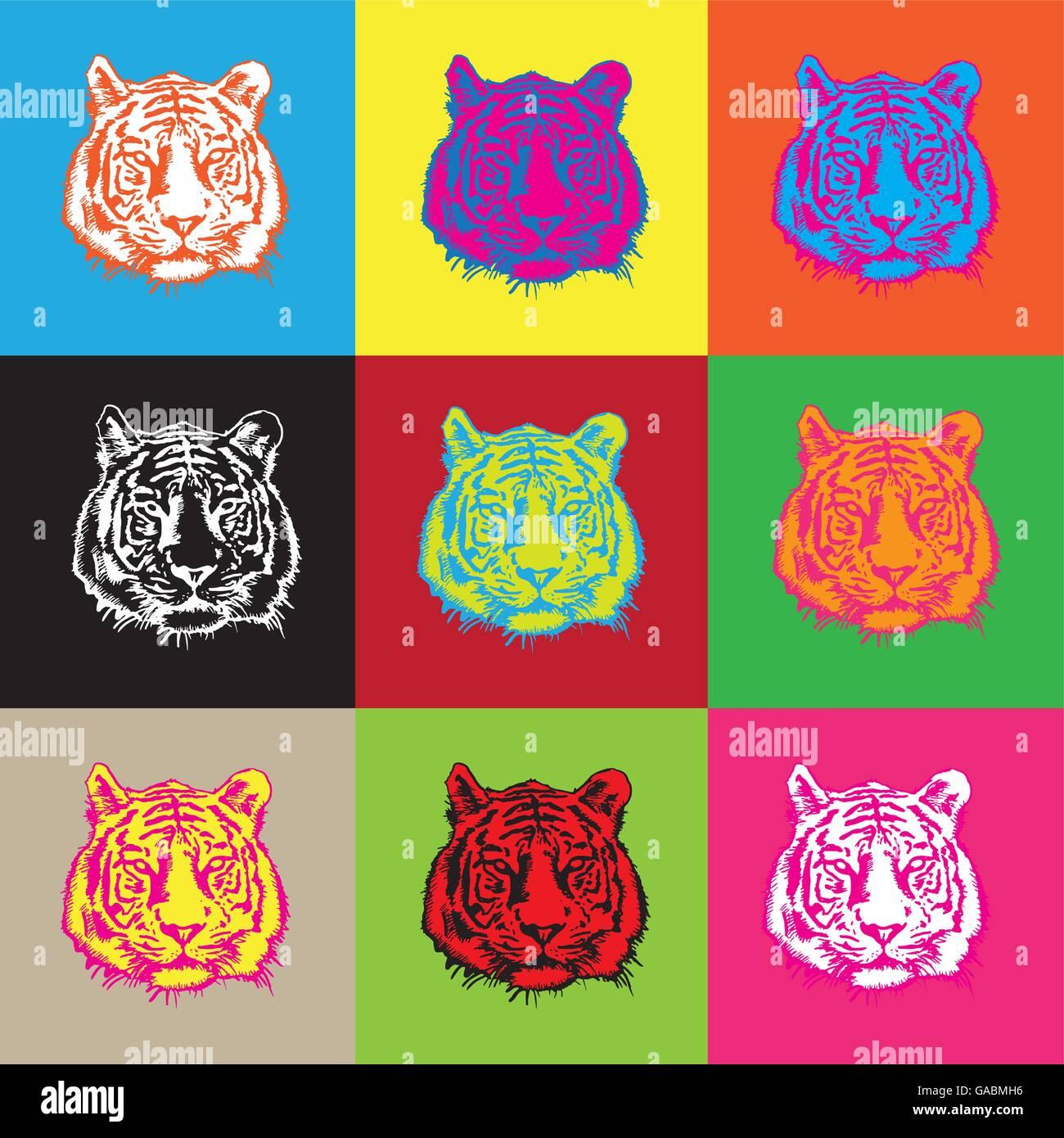 tiger head pop art - Stock Image