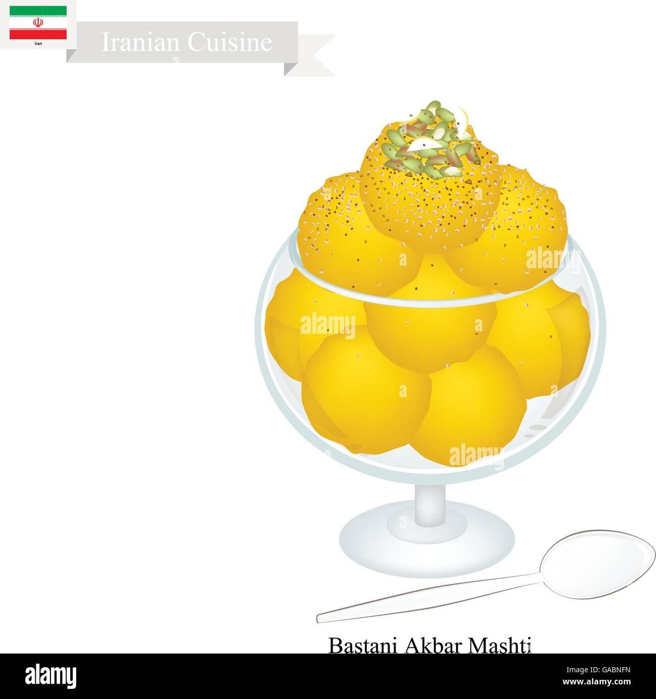 Iranian Cuisine, Bastani Akbar Mashti or Traditional Persian Ice Cream Made From Milk, Eggs, Sugar, Rose Water and Stock Vector