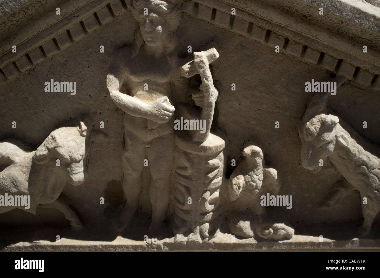 the relief detail of man who playing Lyre. Burdur Museum, Turkey - Stock Image