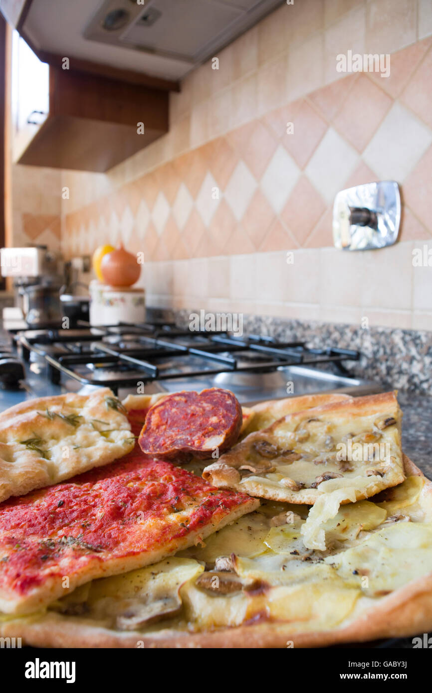 assortment of homemade pizza easy and quick stock photo 109671510