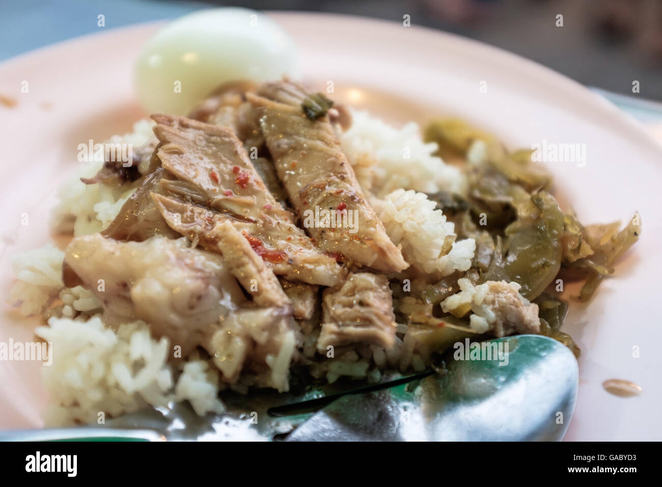Slow cooked pork hock on a bed of rice with hard boiled egg and preserved veg,street food,Chiang Mai,northern Thai - Stock Image
