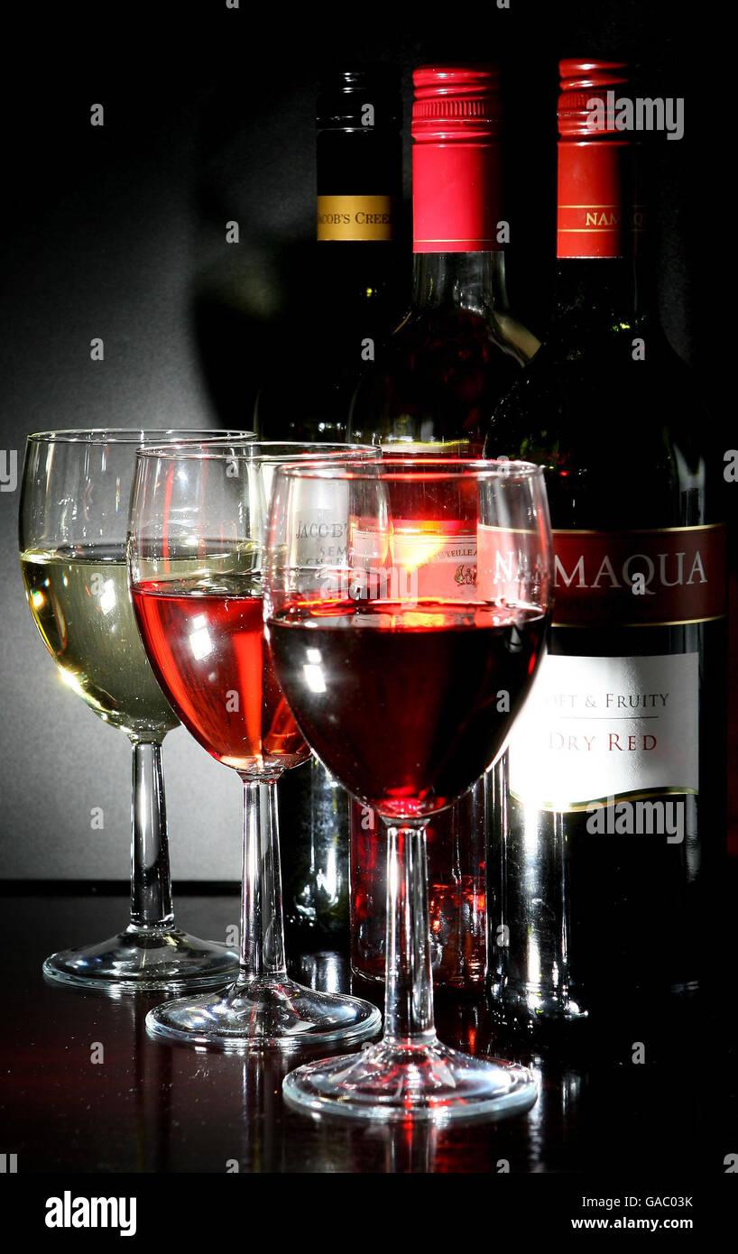 Dangers of hazardous drinking levels - Stock Image