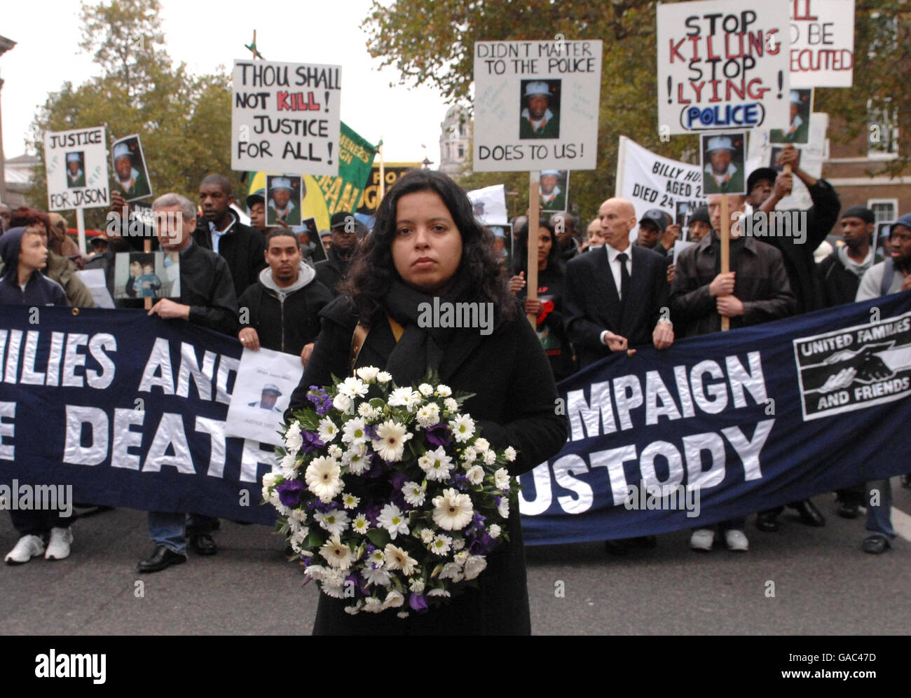 Menezes' cousin leads deaths in custody demo - Stock Image