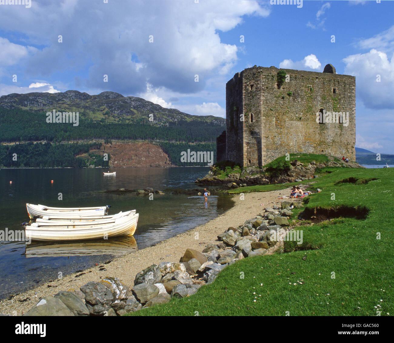 Carrick Castle is a 15th century tower house on the shore of Loch Goil, near Lochgoilhead, Argylll - Stock Image