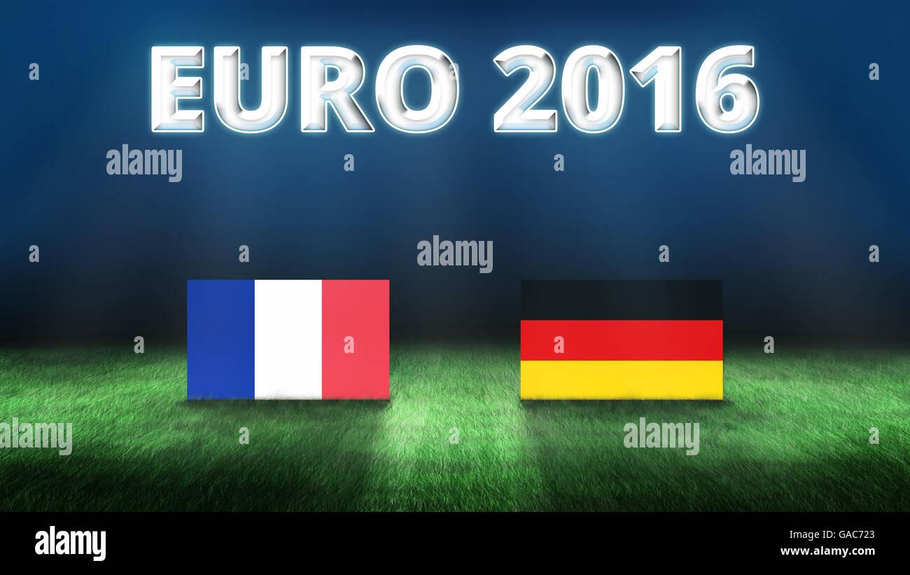 Euro 2016 France vs Germany background - Stock Image