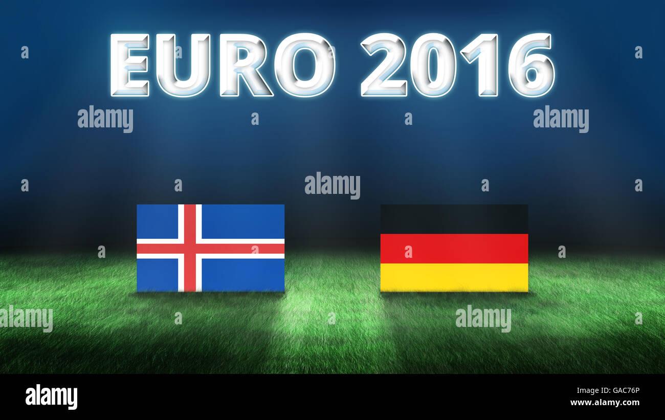 Euro 2016 Iceland vs Germany background - Stock Image
