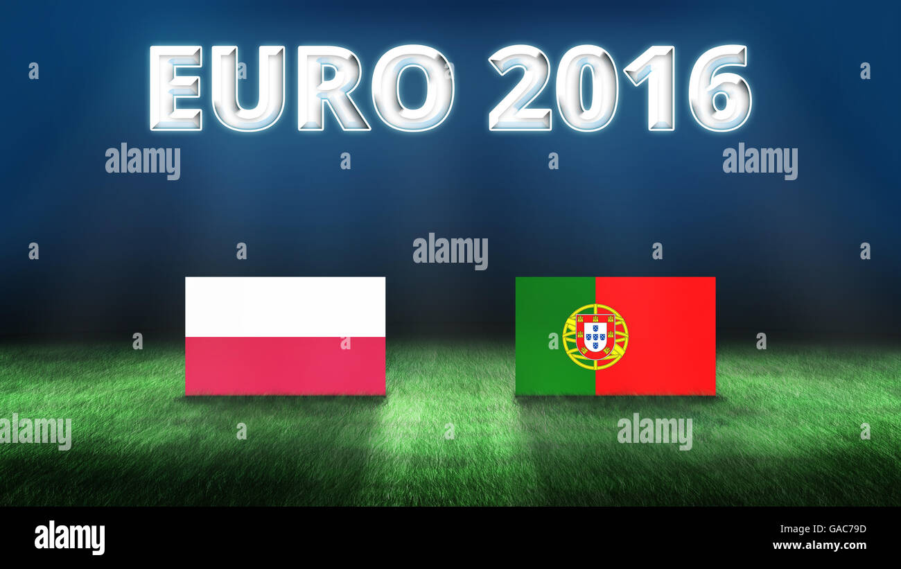 Euro 2016 Poland vs Portugal background - Stock Image