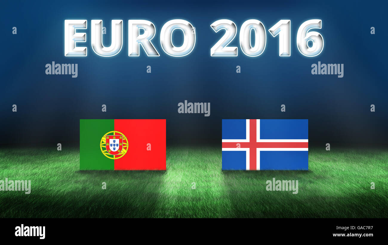 Euro 2016 Portugal vs Iceland background - Stock Image
