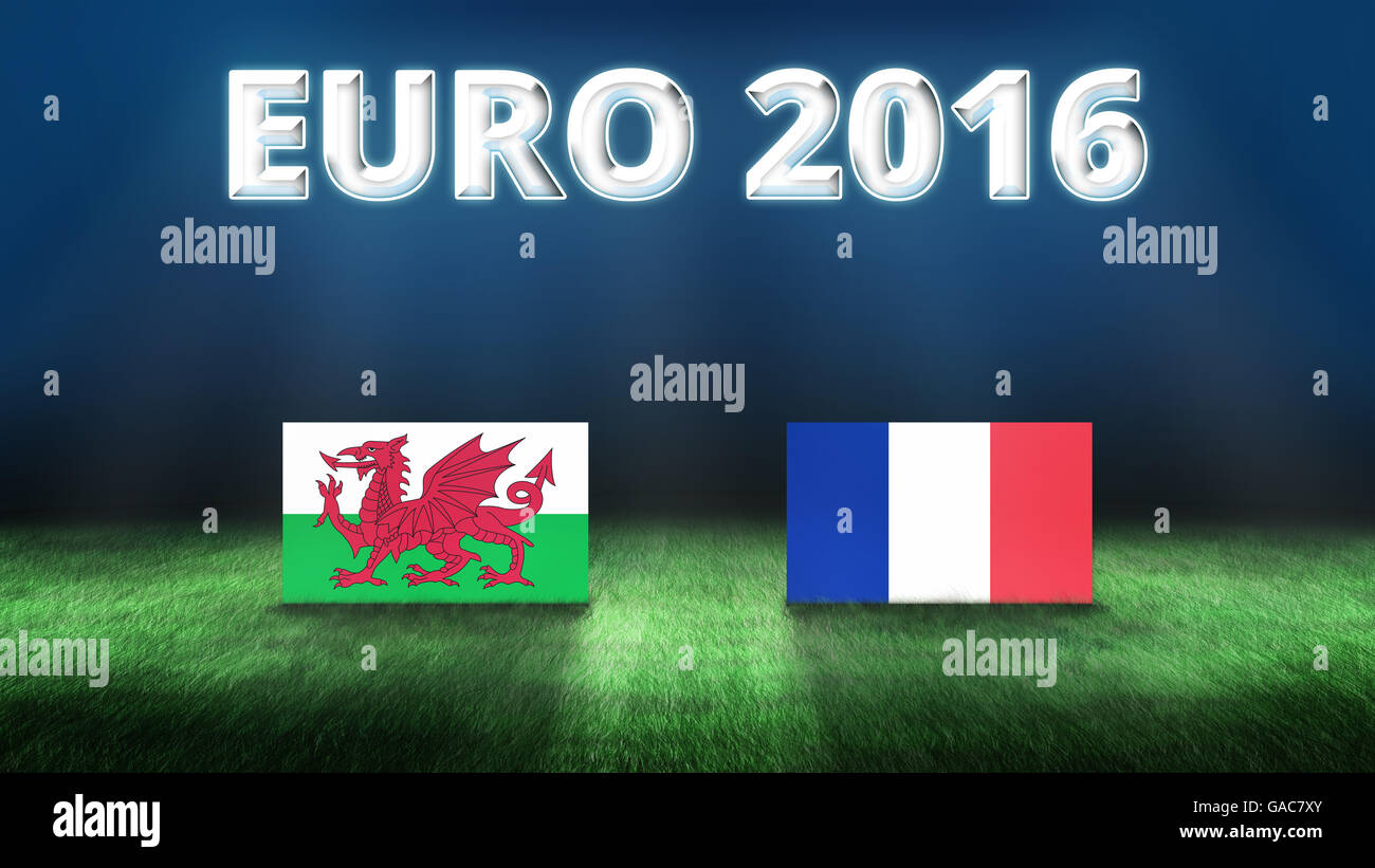 Euro 2016 Wales vs France background - Stock Image