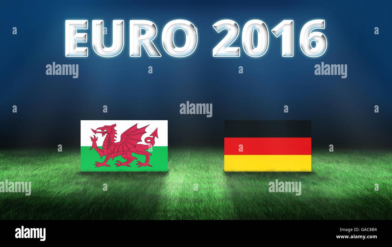 Euro 2016 Wales vs Germany background - Stock Image