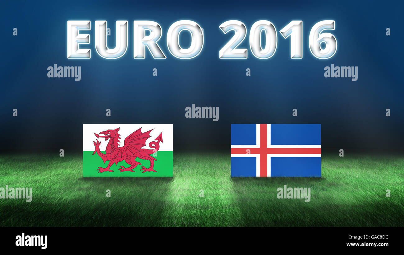 Euro 2016 Wales vs Iceland background - Stock Image