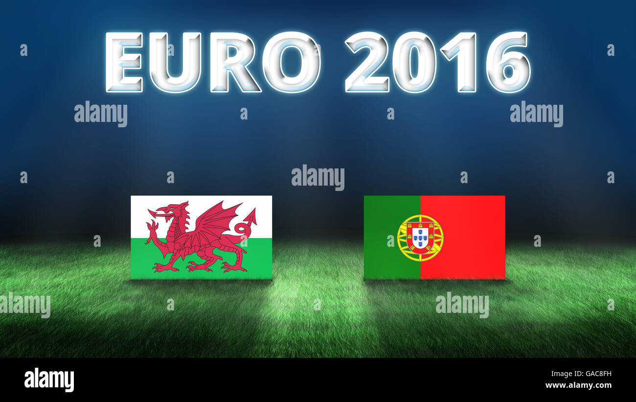 Euro 2016 Wales vs Portugal background - Stock Image