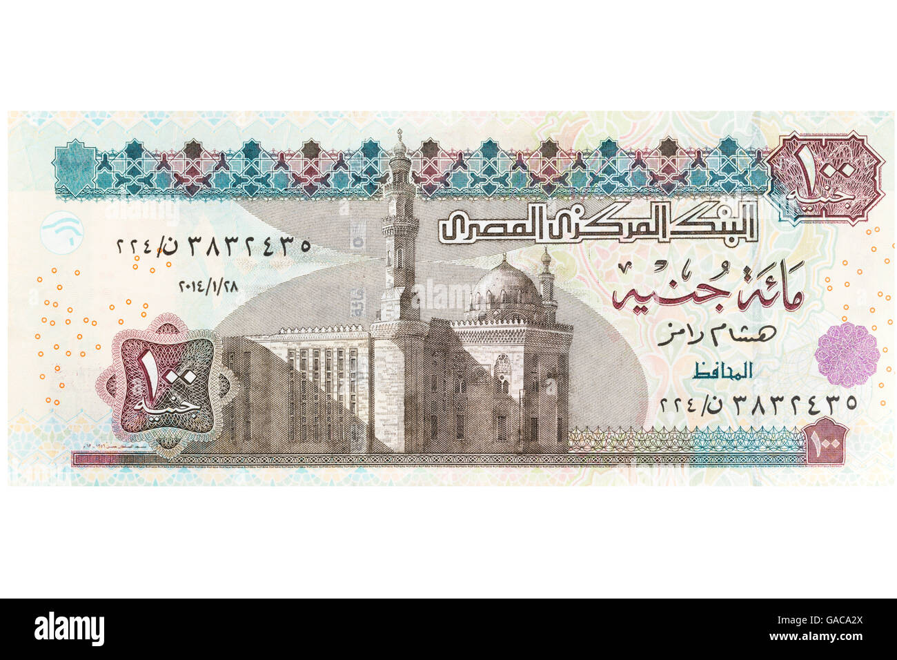 Egyptian one hundred pound banknote on a white background - Stock Image