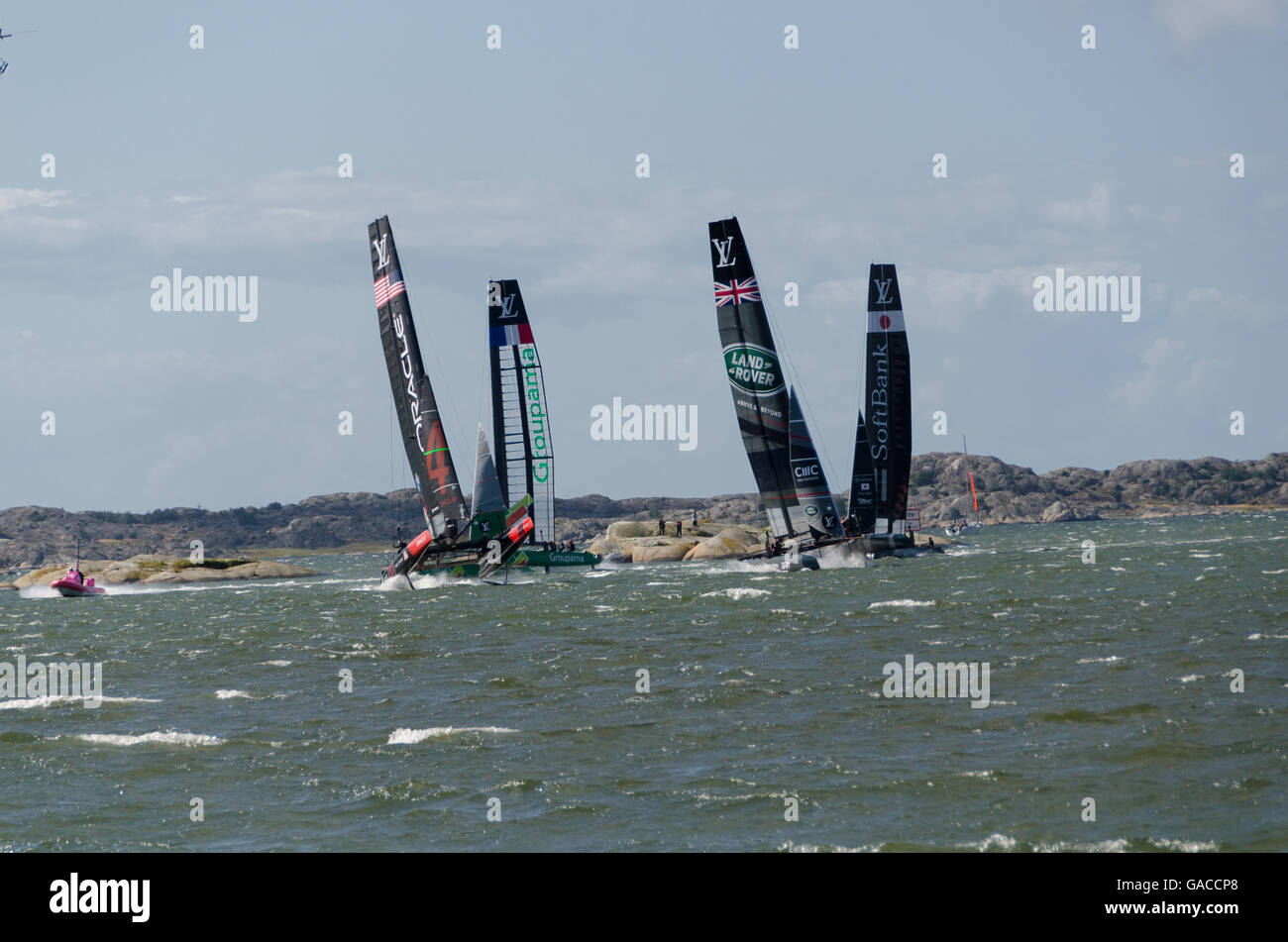 very fast boat sailng in americas cup in the competition in Gothenburg 2015-08-28 - Stock Image