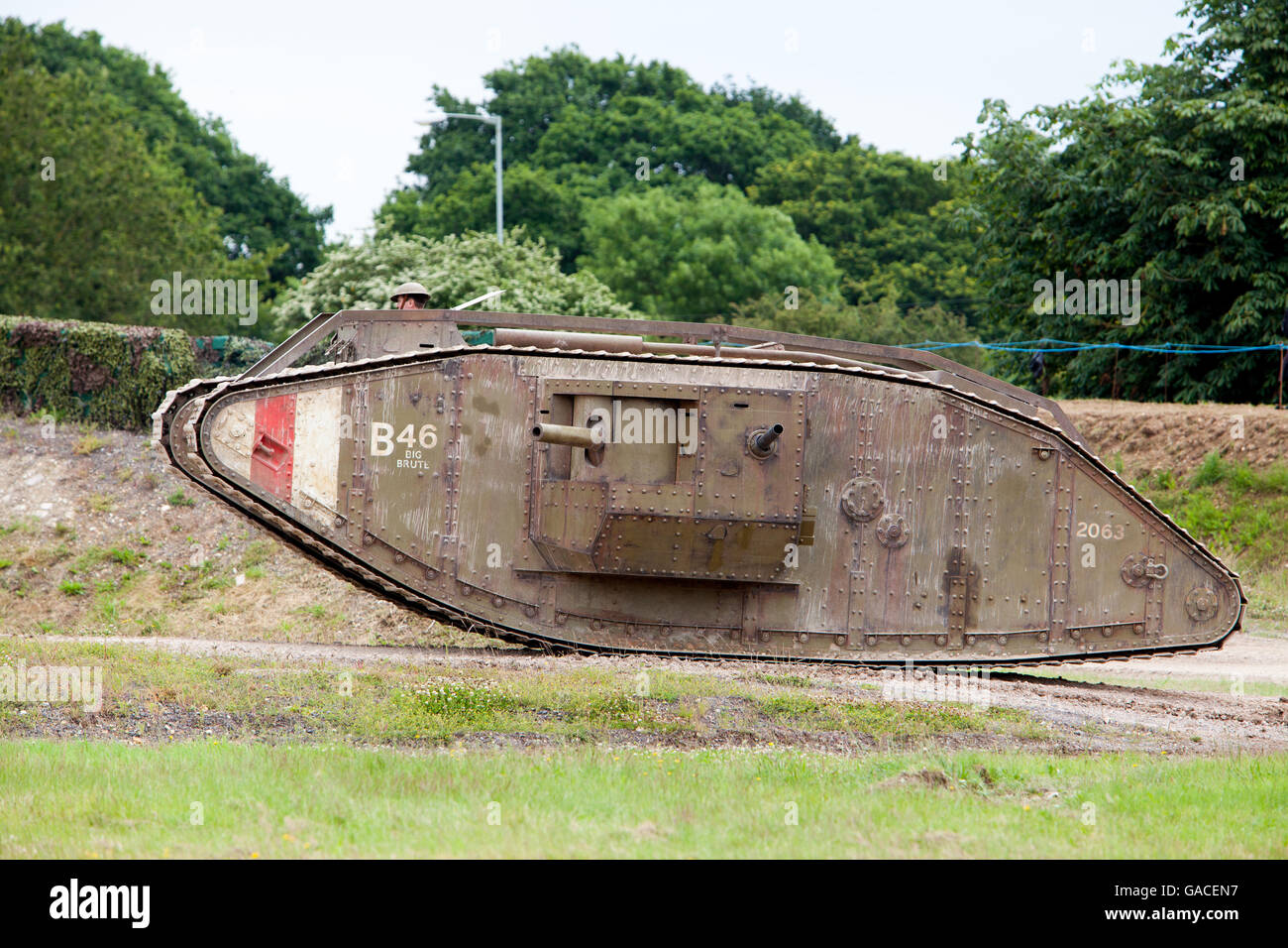 Mark IV Replica World War One Tank at Tankfest 2016 as used in the film War Horse - Stock Image