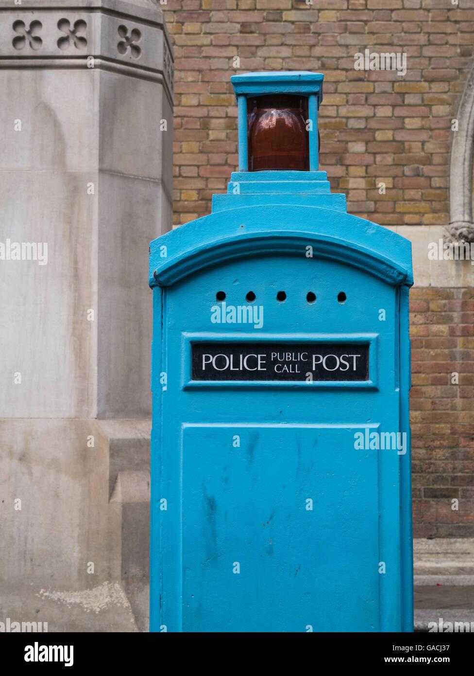 Old blue Police public call box no longer used City of London England UK - Stock Image