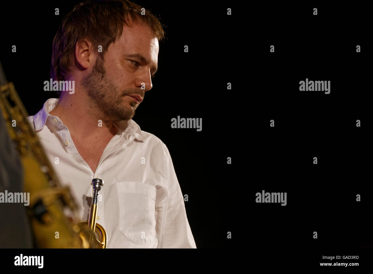 Agde, France.July, 2, 2016. Julien Alour accompagnied The Messengers Sextet.Credit : Veronique Phitoussi/Alamy Stock - Stock Image