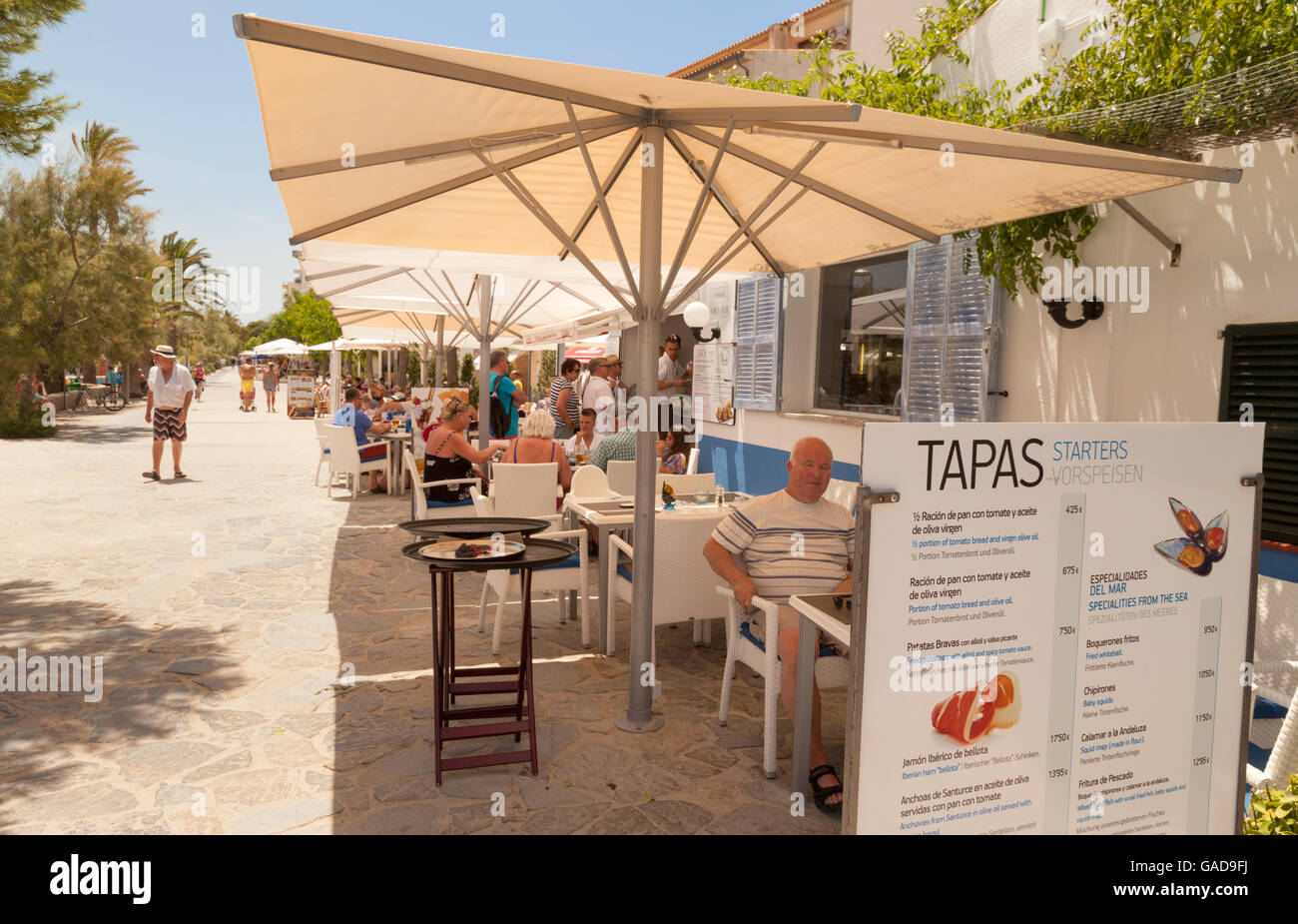 Tapas bar, the promenade, Puerto Pollensa, Mallorca ( Majorca ), Balearic Islands Europe - Stock Image