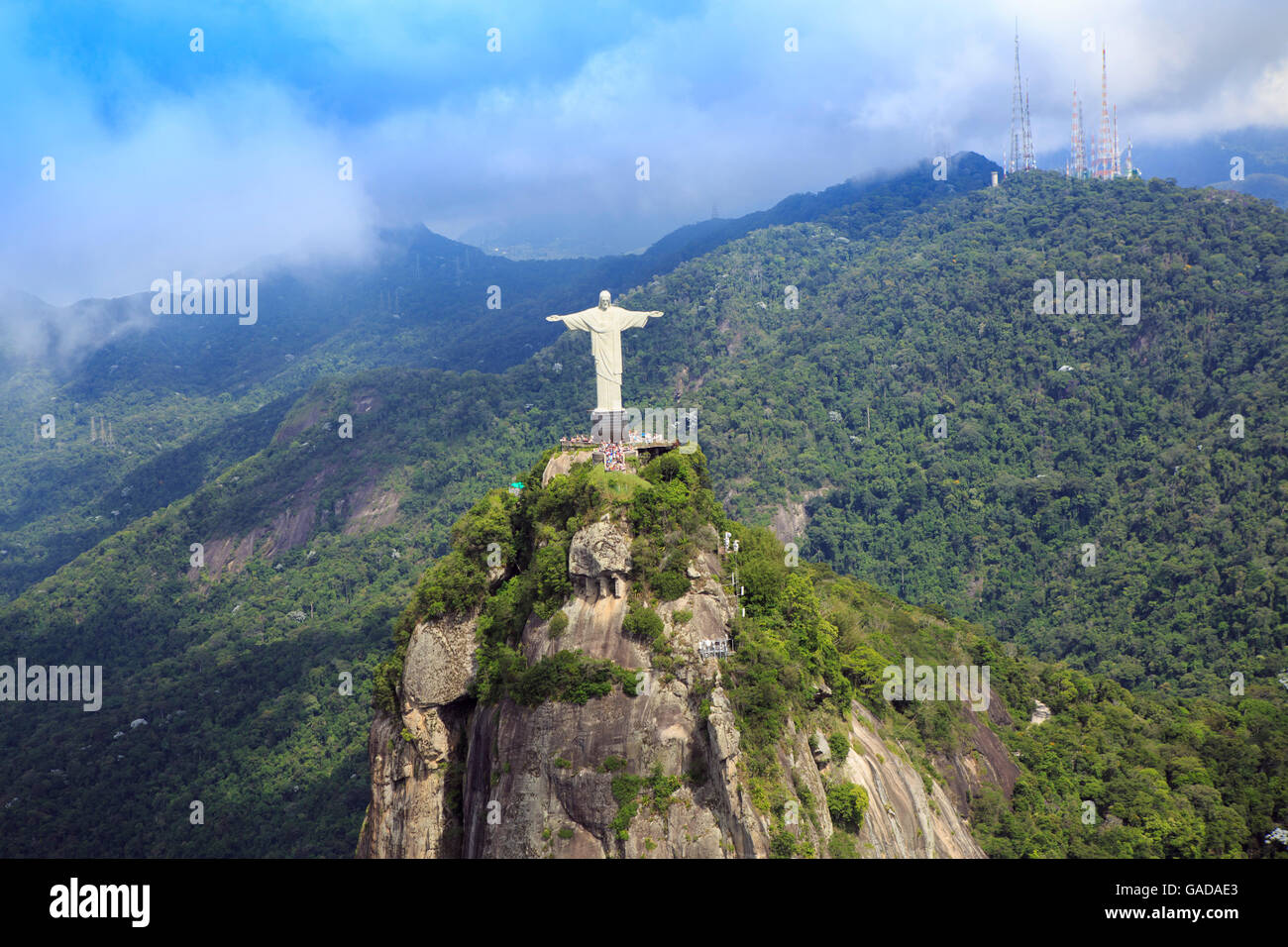 View of the Christ statue in Tijuca national park, on Corcovado mountain, Rio de Janeiro, Brazil Stock Photo