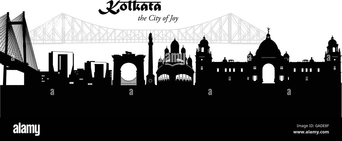 Vector illustration of the skyline of Kolkata, India - Stock Vector