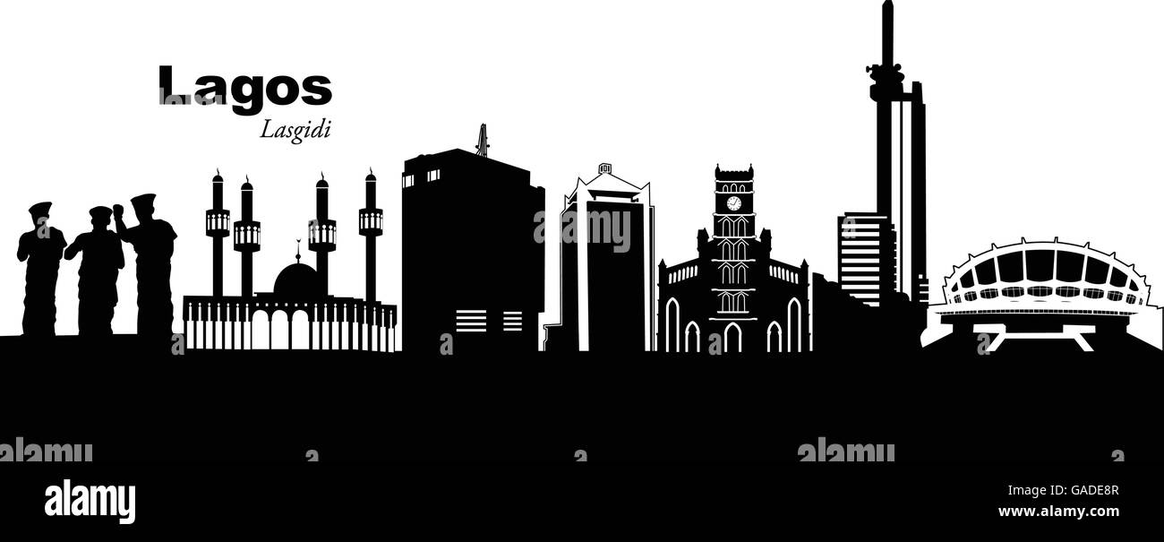 Vector illustration of the skyline of Lagos, Nigeria - Stock Image