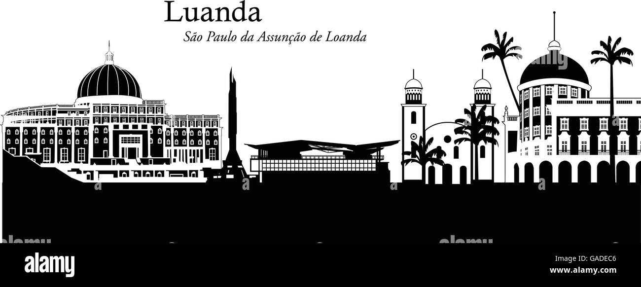Vector illustration of the skyline of Luanda, Angola - Stock Vector