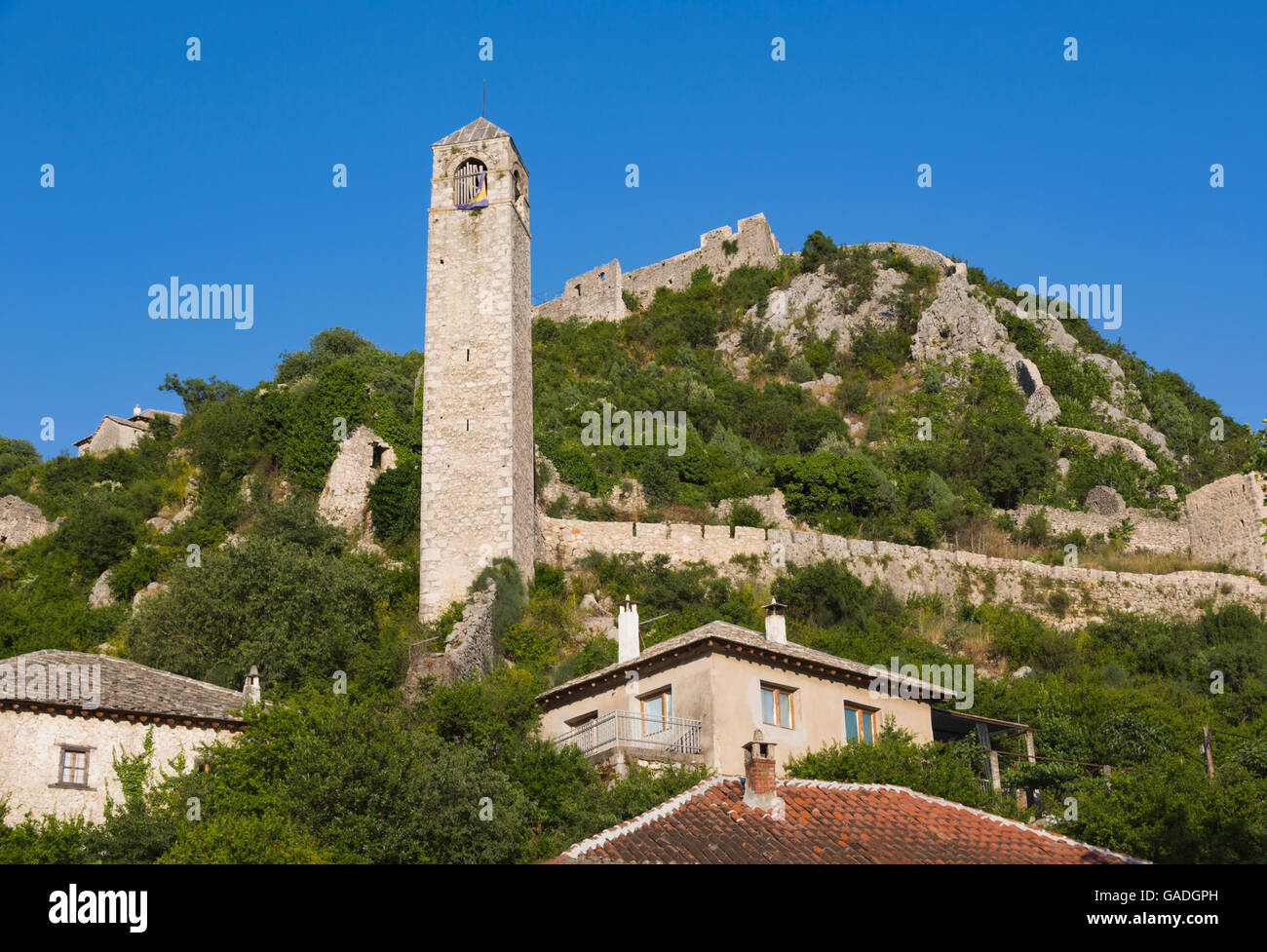Pocitelj, Herzegovina-Neretva, Bosnia and Herzegovina.  The Clock Tower. - Stock Image