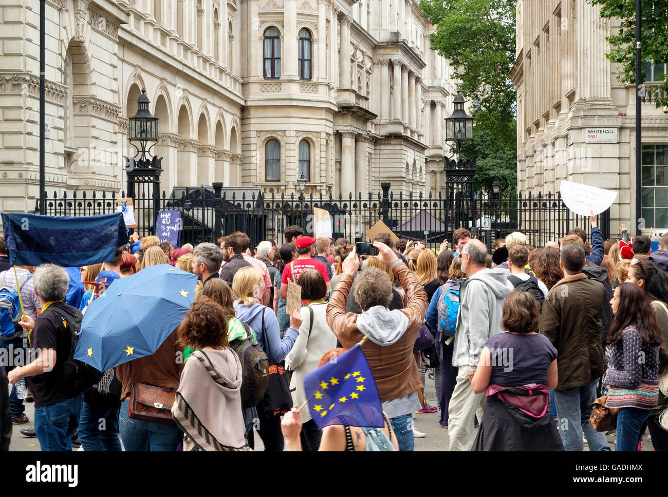 London, UK , 2 July 2016: Protesters on the March for Europe demonstration at 10 Downing Street - Stock Image