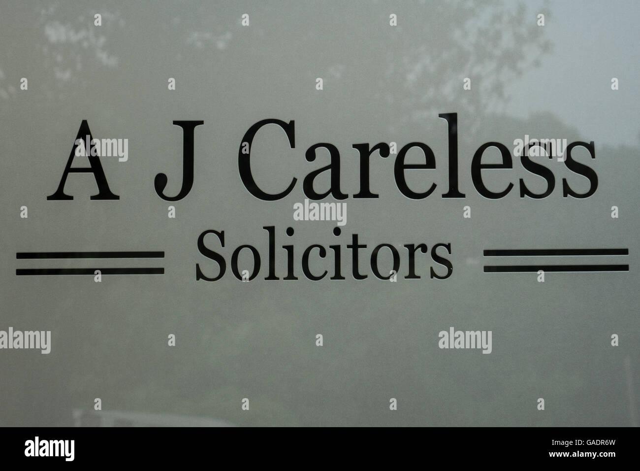 Careless Solicitors, Amusing name - Stock Image