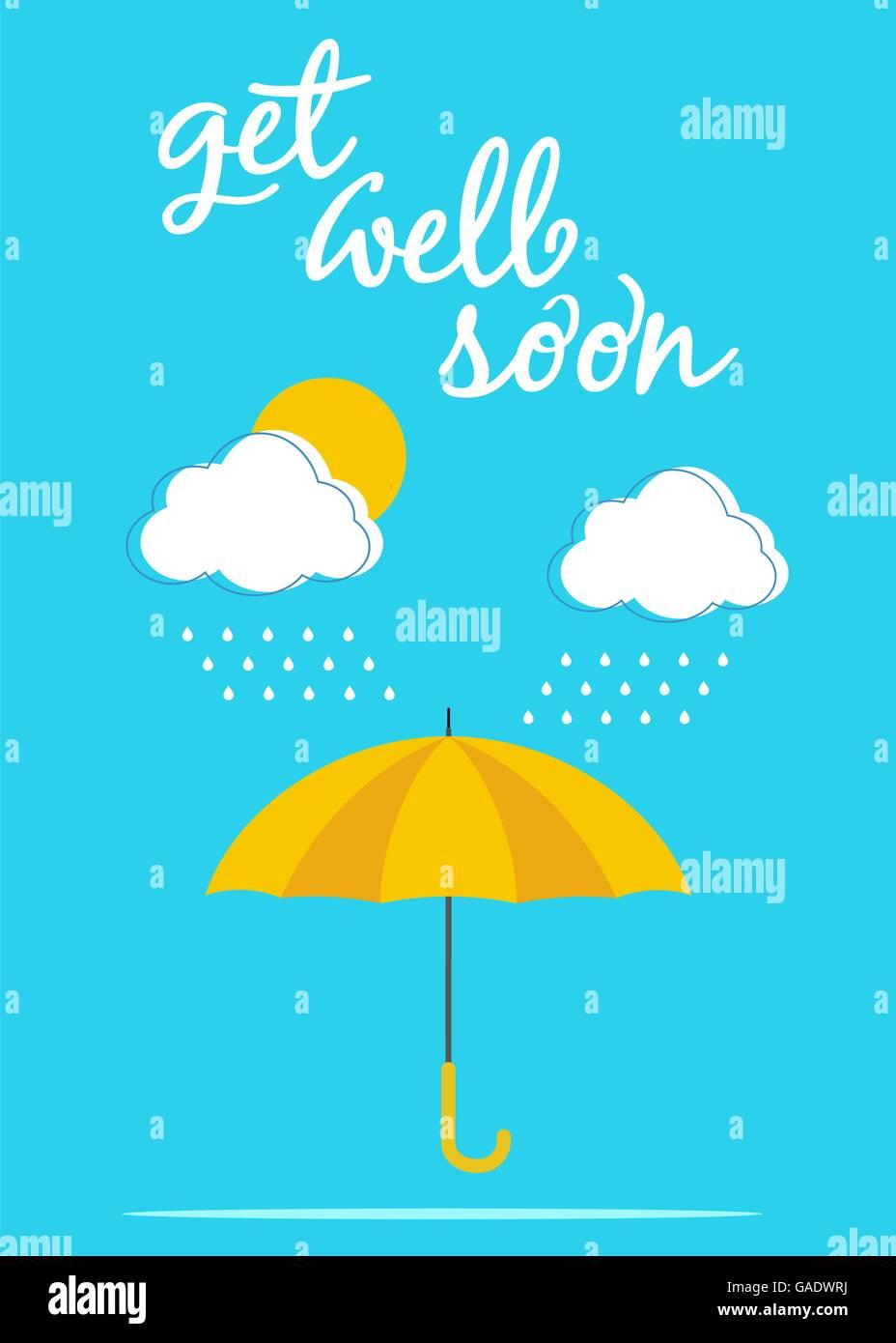 umbrella card poster get well soon
