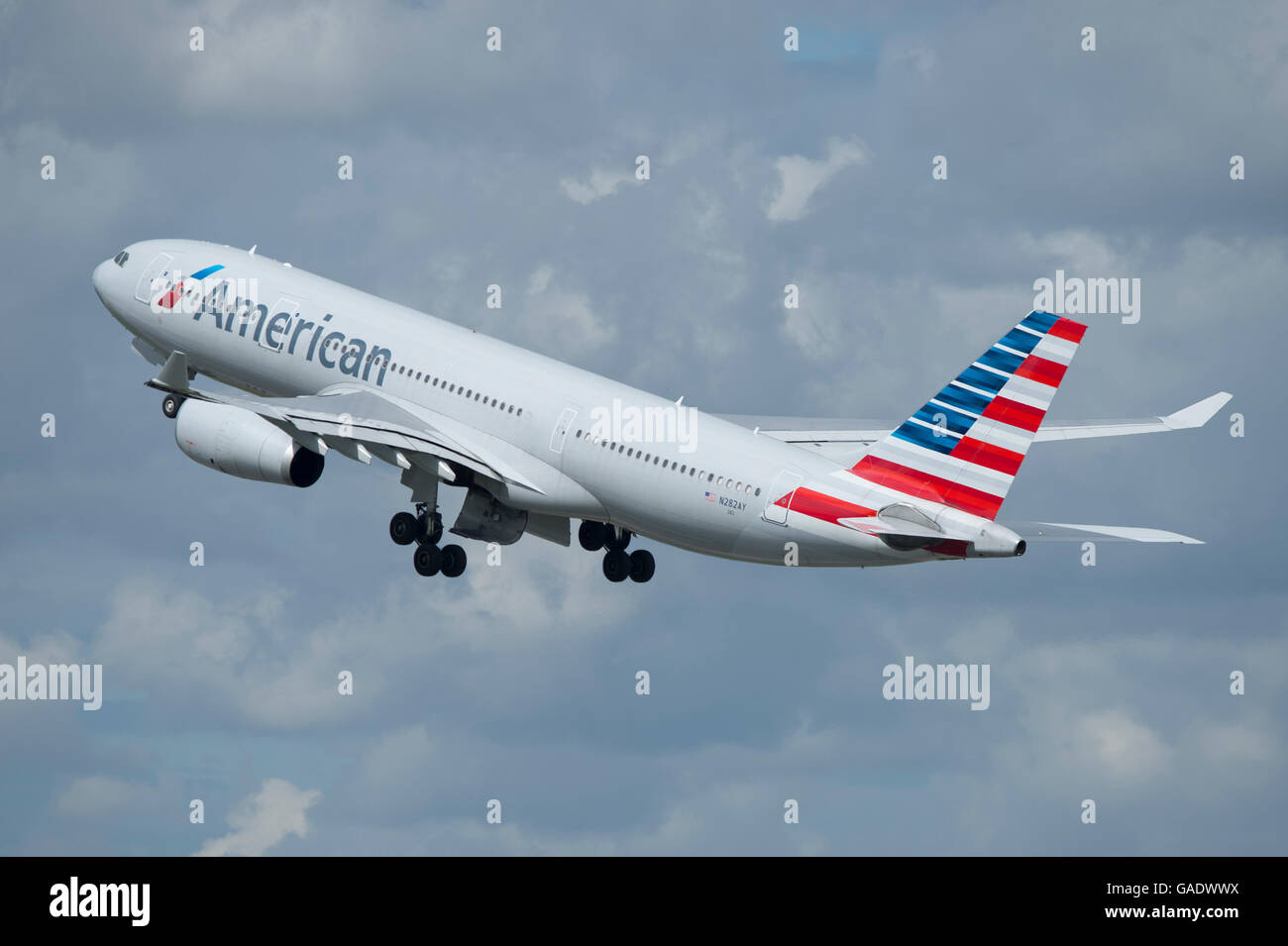 An American Airlines Airbus A330 takes off from Manchester International Airport (Editorial use only) - Stock Image