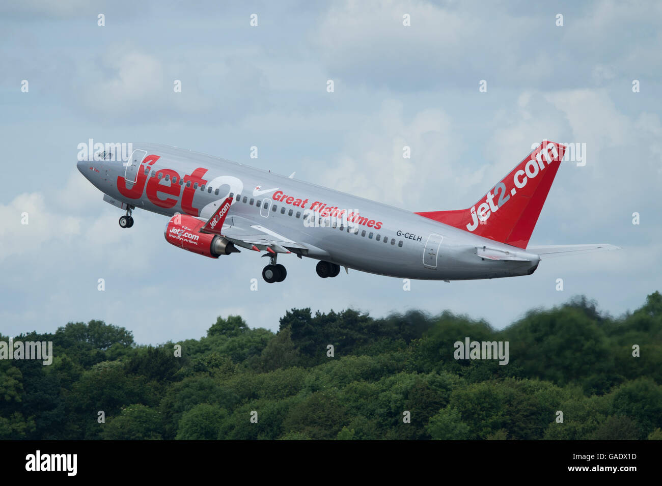 A Jet2 Boeing 737 takes off from Manchester International Airport (Editorial use only) - Stock Image