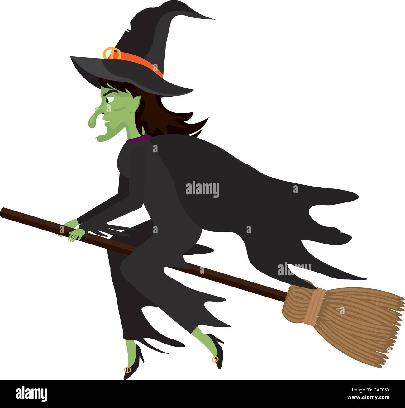 Witch Flying With Broomstick Cartoon