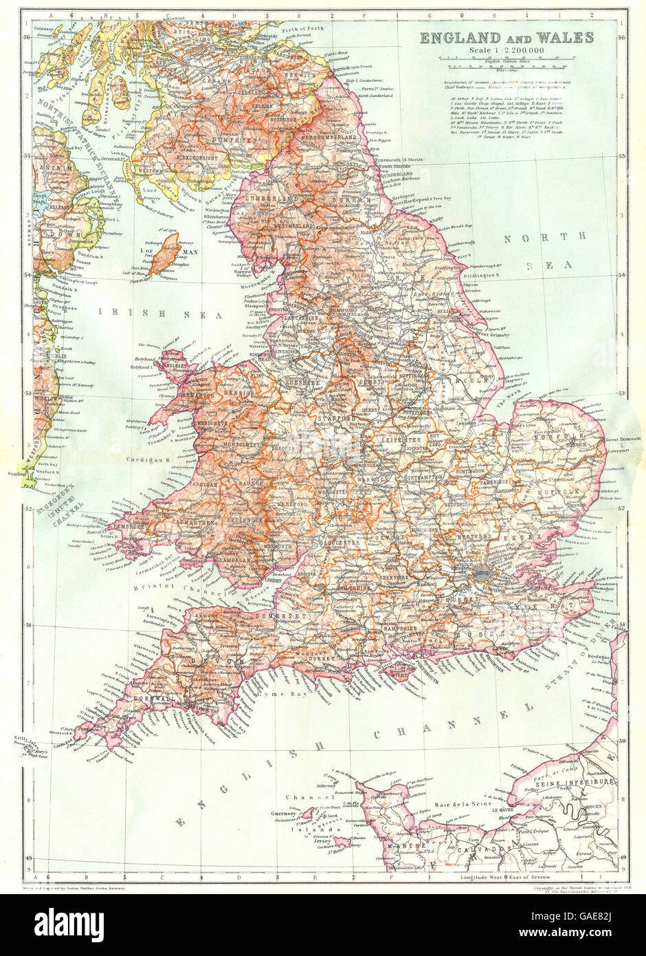 Map Of England 200.England England Wales 1910 Antique Map Stock Photo 109722442