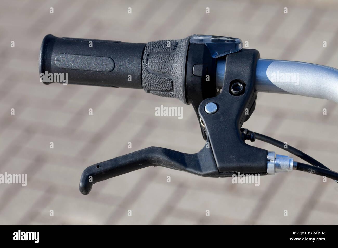 Handlebars, handle and hand brake - Stock Image